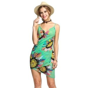 Green Floral Chiffon Swimsuit Cover Up Sarong
